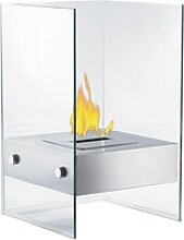Bio-Ethanol Deko-Feuer im Glaswürfel-Look