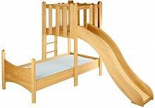 BioKinder 22735 Noah Spar-Set Kinderbett mit Spielturm und Rutsche aus Massivholz Erle