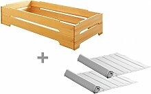 BioKinder 23614 Kai Set Stapelbett mit Roll-Lattenroste aus Massivholz Erle 90 x 200 cm 2 Stück