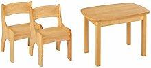 BioKinder 24791 Levin Spar-Set Kindertisch mit 2 Stühlen aus Massivholz , Farbe:Erle