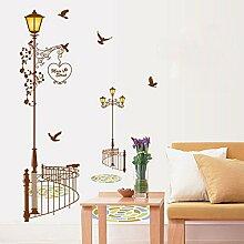 Birds Street Lampe Wand Aufkleber Home Aufkleber PVC Wandmalereien, Vinyl, Papier, House Dekoration Tapete Wohnzimmer Schlafzimmer Küche Kunst Bild DIY für Kinder Teen Senior Erwachsene Kinderzimmer Baby
