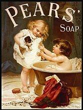 Birnen Bad Seife, Kinder in Badewanne mit Puppy. Old, Vintage für Badezimmer, Home, Shop, Kneipe oder Küche aus Metall/Stahl Wandschild, stahl, 30 x 40 cm