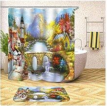 Bishilin 165x180 Bad Vorhang für Badezimmer Dorf
