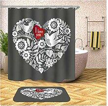 Bishilin 180x200 Bad Vorhang für Badezimmer Herz