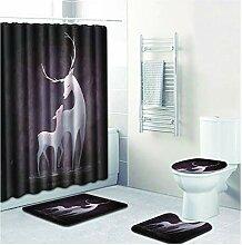Bishilin Bad Vorhang für Badezimmer 180x180 Elch
