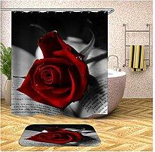 Bishilin Bad Vorhang für Badezimmer 180x200, Rot