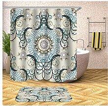 Bishilin Bad Vorhang für Badezimmer 90x180, Blume
