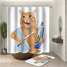 Bishilin Badematte Set, Katze mit Zahnbürste und