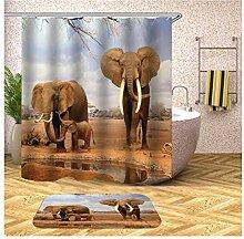 Bishilin Elefant Bad Vorhang für Badezimmer