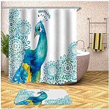 Bishilin Pfau Bad Vorhang für Badezimmer 180x200,