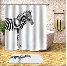 Bishilin Zebra Lustiger 3D Duschvorhang
