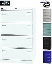 BISLEY Hängeregistraturschrank Light in weiß - Hängeregistratur Schrank aus Metall für Hängeregister & Hängemappen | Hängeregisterschrank 4 Schübe zweibahnig | TÜV/GS geprüft | 5 Farben