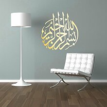 BISMILLAH Wandtattoo Besmele Islam Allah Arabisch Wandaufkleber Sticker Aufkleber Wand (60 x 60 cm, Gold)