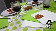 Bissu Damast-Tischdecke, recycelt, Weiß mit