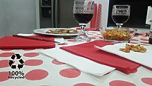 Bissu Damast-Tischdecke, recycelt, Weiß mit roten
