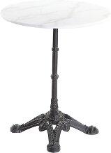 Bistro-Tisch aus weißem Marmor und schwarzem
