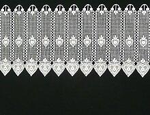 Bistrogardine Häkelgardine Spitze Herz weiß 26cm