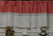 Bistrogardine Kurzgardine Rot Weiß Karo mit