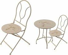 Bistroset Balkonset Sitzgruppe Terrassenmöbel Gartenmöbel 3tlg. aus Metall