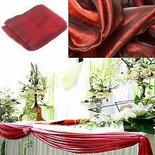 BITFLY 10 m x 1,35 m Organza Swag DIY Stoff Hochzeit Top Table Event Party Decor Treppe Schleife Querbehang Tisch Rock 30 Farbe - Burgund
