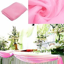 BITFLY 10 m x 1,35 m Organza Swag DIY Stoff Hochzeit Top Table Event Party Decor Treppe Schleife Querbehang Tisch Rock 30 Farbe - Hell-Pink