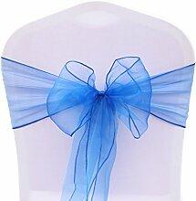 BITFLY 100pc Organza dekoband Stuhl Stuhl Schleife, Stuhl Band, Schärpe, für Hochzeiten Hochzeit Party Bankett Dekoration 30 Farben 18x275cm - Königsblau