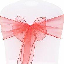 BITFLY 100pc Organza dekoband Stuhl Stuhl Schleife, Stuhl Band, Schärpe, für Hochzeiten Hochzeit Party Bankett Dekoration 30 Farben 18x275cm - Ro