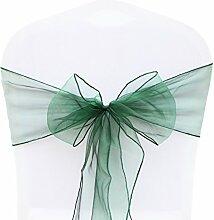 BITFLY 25pc Organza dekoband Stuhl Stuhl Schleife, Stuhl Band, Schärpe, für Hochzeiten Hochzeit Party Bankett Dekoration 30 Farben 18x275cm - Dunkelgrün