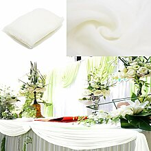 BITFLY 5 m x 1,35 m Organza Swag DIY Stoff Hochzeit Top Table Event Party Decor Treppe Schleife Querbehang Tisch Rock 30 Farbe - Weiß