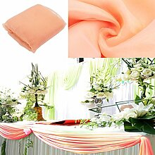 BITFLY 5 m x 1,35 m Organza Swag DIY Stoff Hochzeit Top Table Event Party Decor Treppe Schleife Querbehang Tisch Rock 30 Farbe - Pfirsich