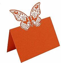 bitfly Schmetterling 100Tischkarte Sitz Tisch Anzahl Namen Karten mit Halterungen für Hochzeit Geburtstag Party und andere Feste Décor Orange
