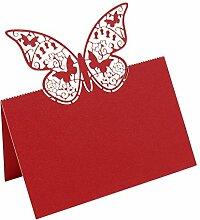 bitfly Schmetterling 100Tischkarte Sitz Tisch Anzahl Namen Karten mit Halterungen für Hochzeit Geburtstag Party und andere Feste Décor ro