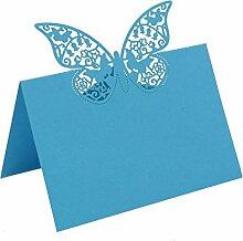 bitfly Schmetterling 100Tischkarte Sitz Tisch Anzahl Namen Karten mit Halterungen für Hochzeit Geburtstag Party und andere Feste Décor türkis