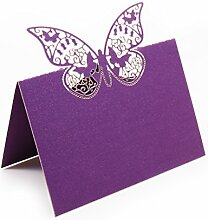 bitfly Schmetterling 100Tischkarte Sitz Tisch Anzahl Namen Karten mit Halterungen für Hochzeit Geburtstag Party und andere Feste Décor viole