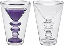 Bitossi Home BHV12670 Set 2 Martini-Gläser Cocktail, aus Borosilikatglas doppelter Boden