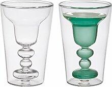 Bitossi Home BHV12672 Set 2 Margarita-Gläser Cocktail, aus Borosilikatglas doppelter Boden