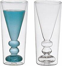 Bitossi Home BHV12674 Set 2 Schnaps-Gläser Cocktail, aus Borosilikatglas doppelter Boden