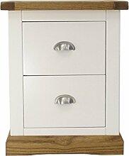Bits Nachttisch Schrank mit Chrom Griff/abgeschrägter Rock, Holz, Weiß