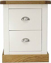 Bits Nachttisch Schrank mit Chrom Griff/quadratisch Rock, Holz, Weiß