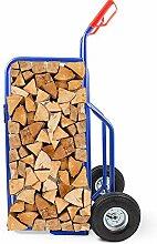 BITUXX® Brennholz Sackkarre Kaminholzkarre Brennholzkarre Holzkarren Holztransporthilfe mit Luftbereifung bis 250kg