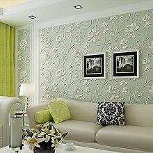 BIZHI Moderne Tapeten Art-Deco-3D einfache moderne Tapete Wandverkleidung Vliesstoff Wandkunst,Grün