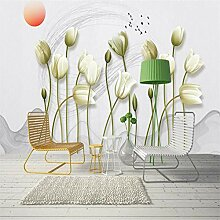 BIZHIGE 3D-Effekt Fototapete Hände Malerei Blume