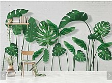 BIZHIGE 3D Tropical Banana Leaves Wandbild Tapete