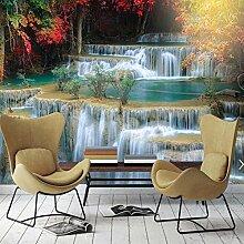 BIZHIGE 3D Wald Wasserfall Fototapete Wand Wand