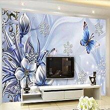 BIZHIGE 3D Wandbild Lila Blume Schmetterling