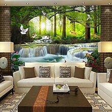BIZHIGE 3D Wasserfall Herkunft Wald Fototapete