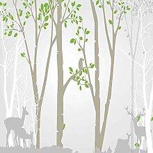 BIZHIGE Hand Malerei Wald Deer Herde Fototapete