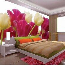 BIZHIGE Lila Tulpe Blume Wandvinyl Tapete Für