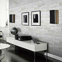 BIZHIGE Tapete Grau Weißer Ziegel Für Wände