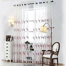 BKFF® 3D Tüll Vorhang Stickerei Baumwolle Leinen Stoff Pure White Pflanze Translucidus Tüll Vorhang Sheer Vorhang Wohnzimmer 1 Stück , 2*2.7m